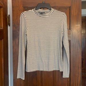 Lulus black and white striped mock neck top